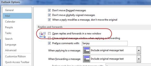 turn off inline response outlook 2013